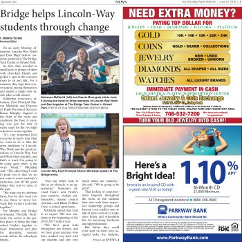 Bridge helps Lincoln-Way students through change - Orland Park Prairie 6.16.16
