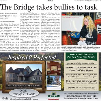 The Bridge Raises Awareness About Bullying 2.6.14 - Orland Park Prairie